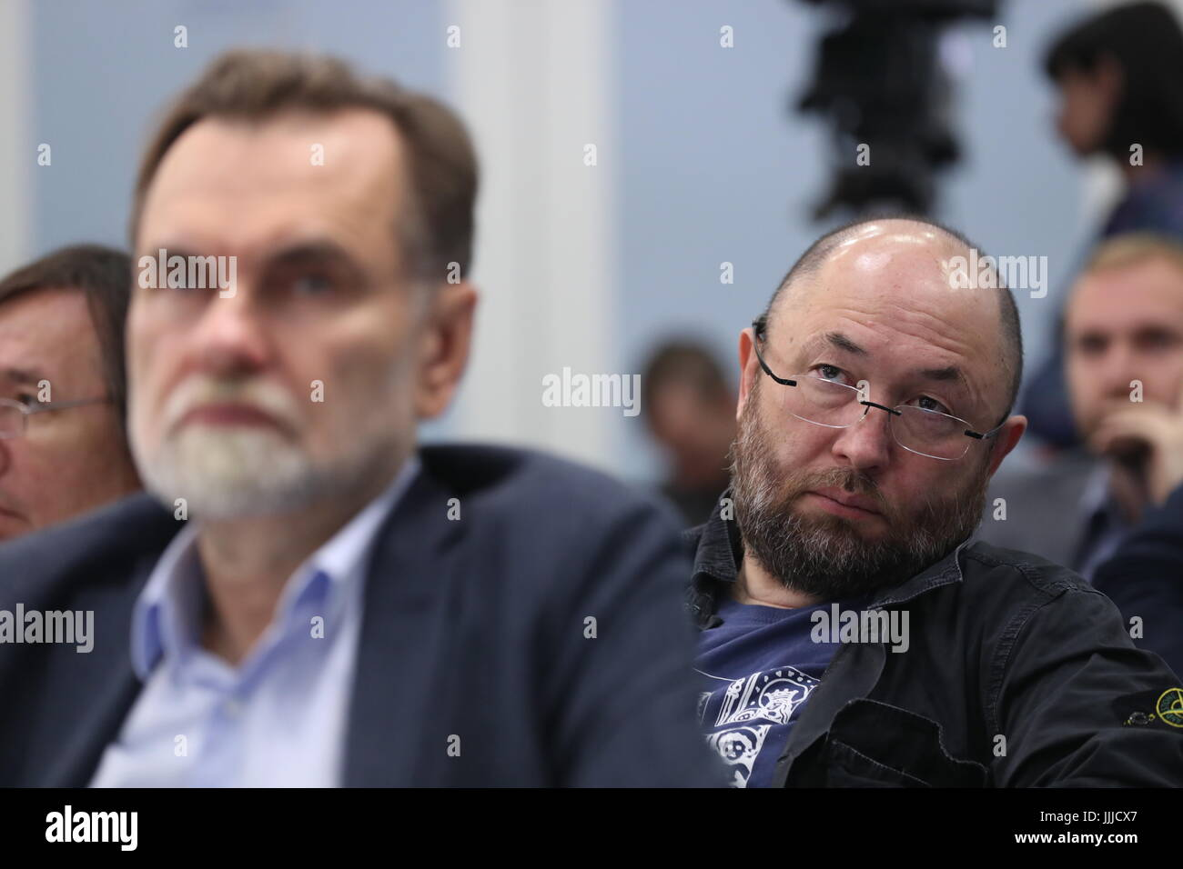 Moscow, Russia. 20th July, 2017. Film producer Sergei Selyanov (L) and film director and producer Timur Bekmambetov - Stock Image