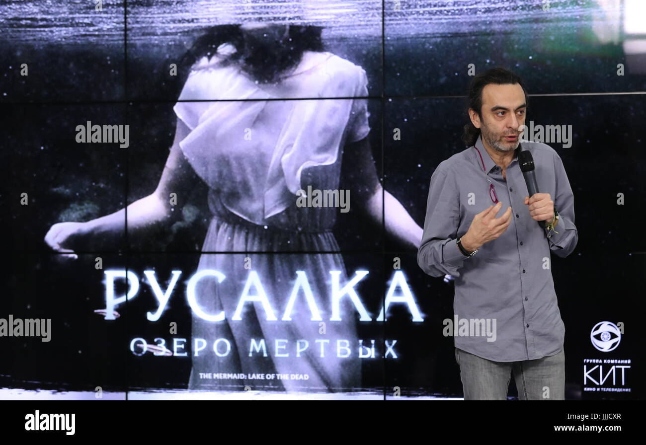 Moscow, Russia. 20th July, 2017. Film director Dzhanik Fayziev speaks during a presentational event for the projects - Stock Image