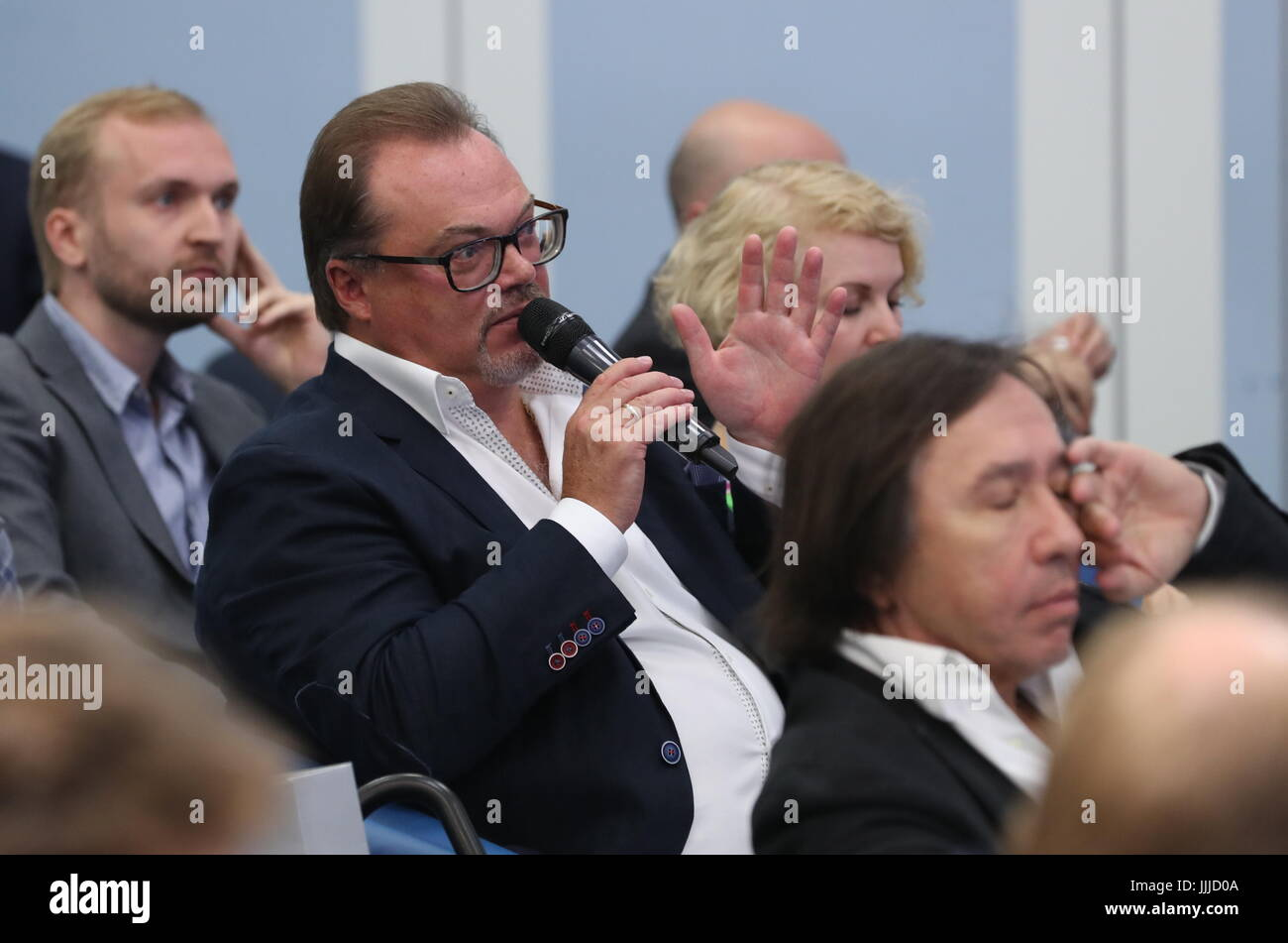 Moscow, Russia. 20th July, 2017. Karo-Premyer Film Company General Director Alexei Ryazantsev (C) during a presentational - Stock Image