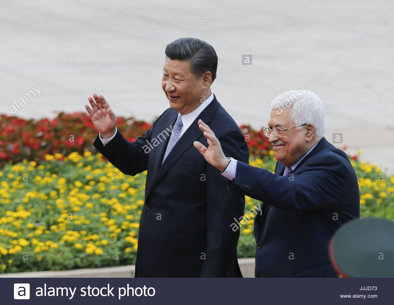 Beijing, China. 18th July, 2017. Chinese President Xi Jinping(L) holds a welcome ceremony for visiting Palestinian - Stock Image