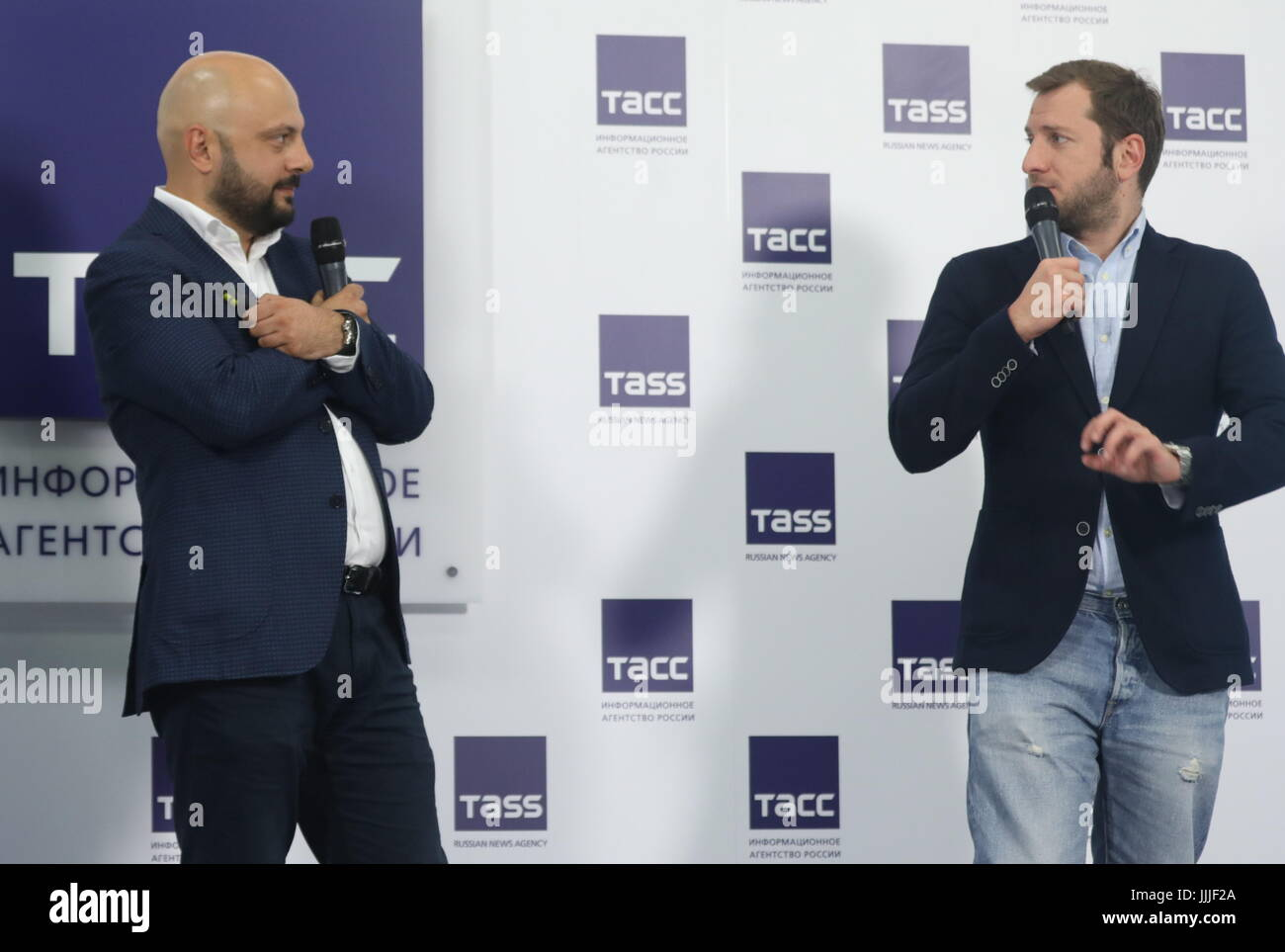 Moscow, Russia. 20th July, 2017. Film producer Georgy Shabanov (L) and film director Rezo Gigineishvili during a - Stock Image