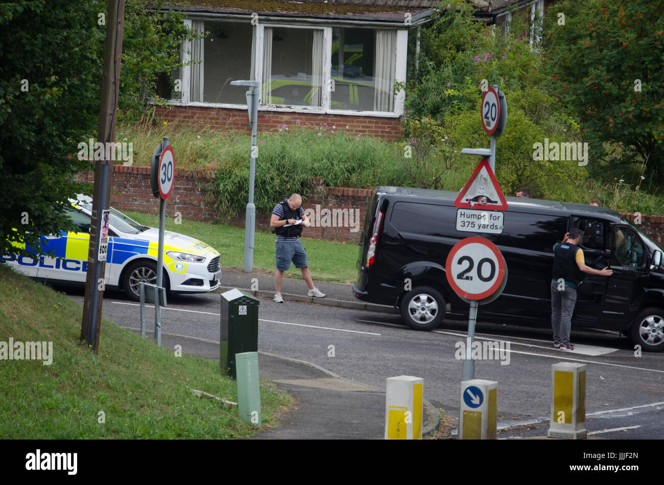 Stowmarket, Suffolk, UK. 20th Jul, 2017. Police stop and search a van and its occupants in Stowmarket today. Credit: - Stock Image