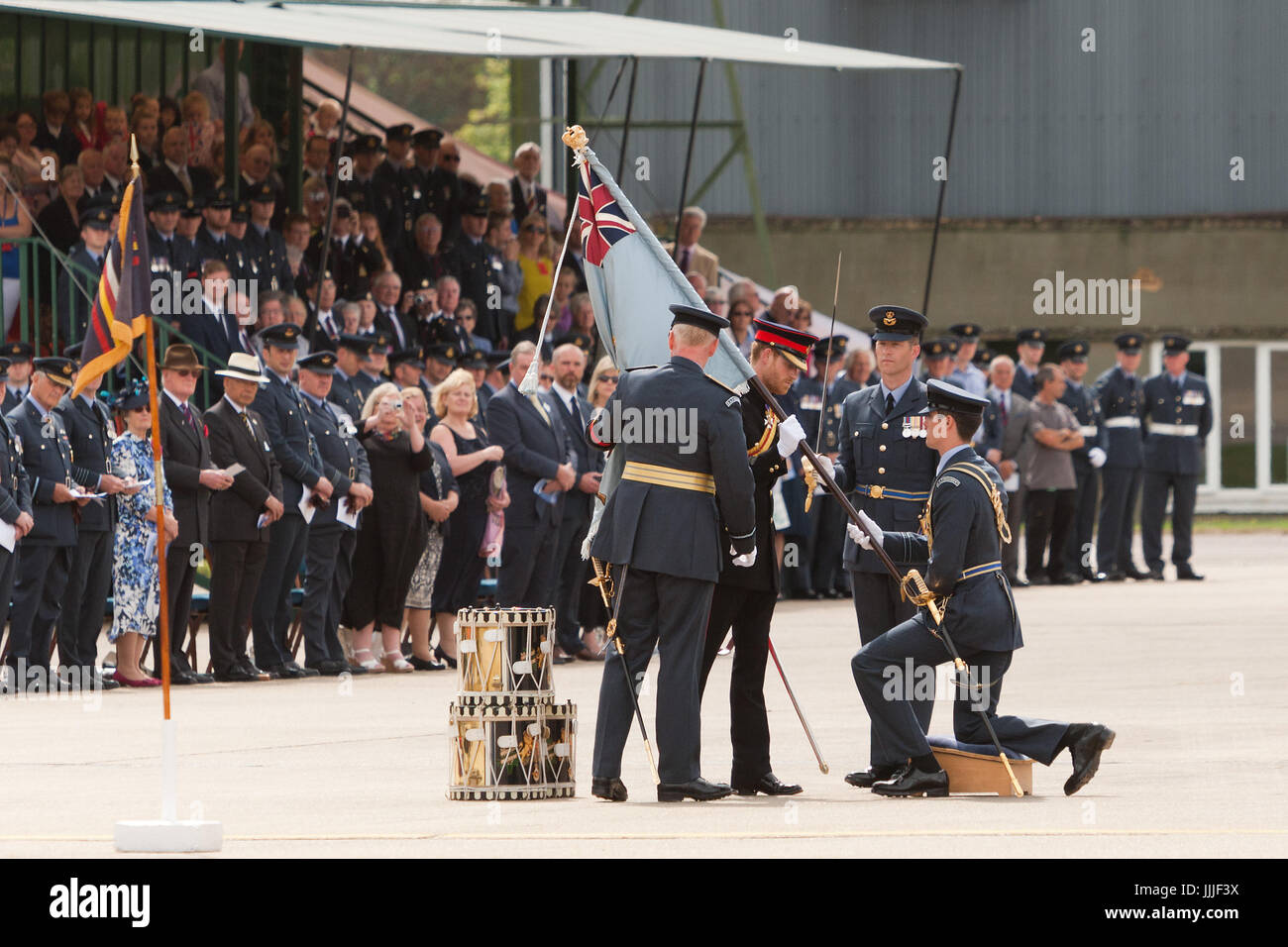 Suffolk, UK. 20th Jul, 2017. His Royal Highness Prince Harry presents the Queens' new Colour at Raf Honington. - Stock Image