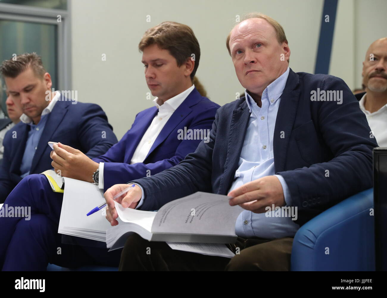 MOSCOW, RUSSIA - JULY 20, 2017: Vladimir Tolstoi and Anton Malyshev (R-L), chairman of the Board of Trustees and - Stock Image