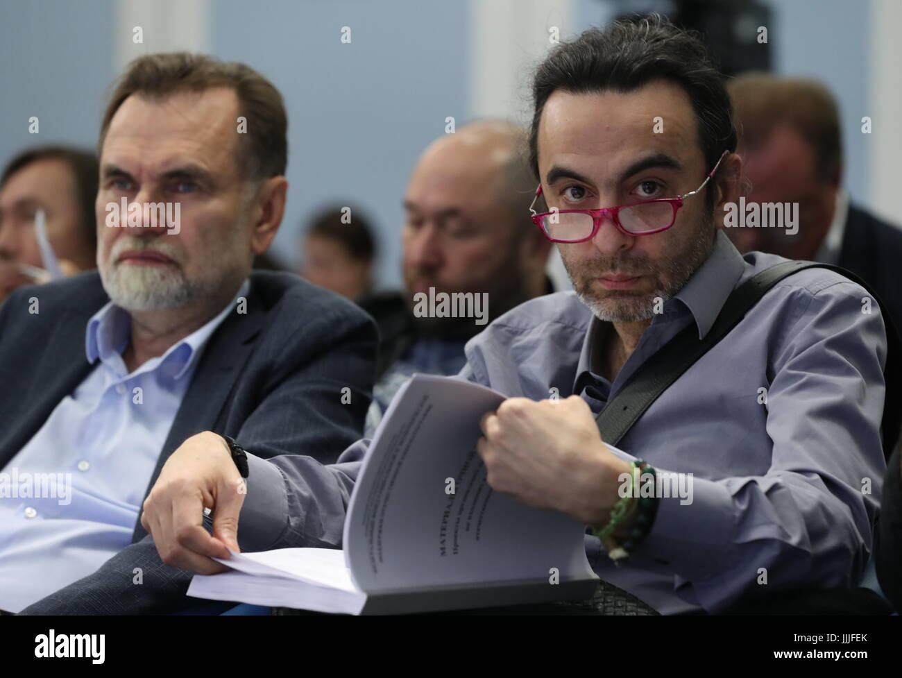 MOSCOW, RUSSIA - JULY 20, 2017: Film producer Sergei Selyanov (L) and film director Dzhanik Fayziev during a presentational - Stock Image
