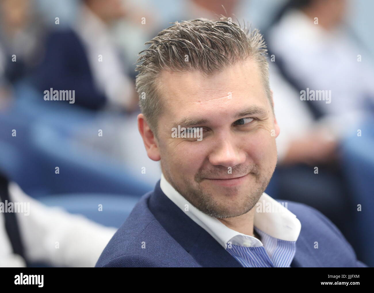 Moscow, Russia. 20th July, 2017. Russia's Deputy Culture Minister Sergei Obryvalin during a presentational event - Stock Image