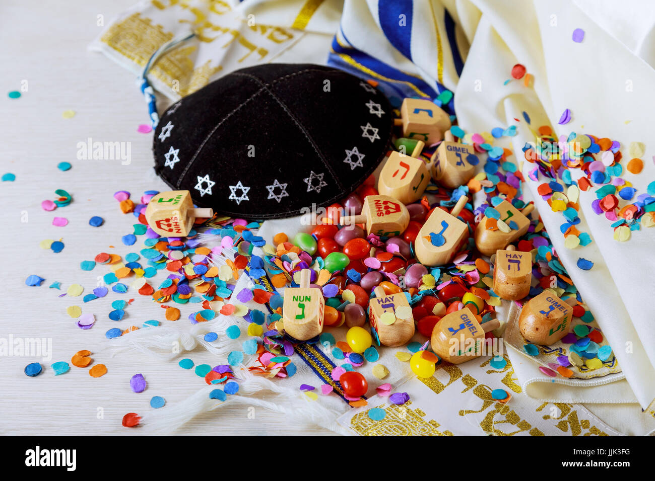 Jewish holiday still life composed of elements the Chanukah Hanukkah festival. - Stock Image