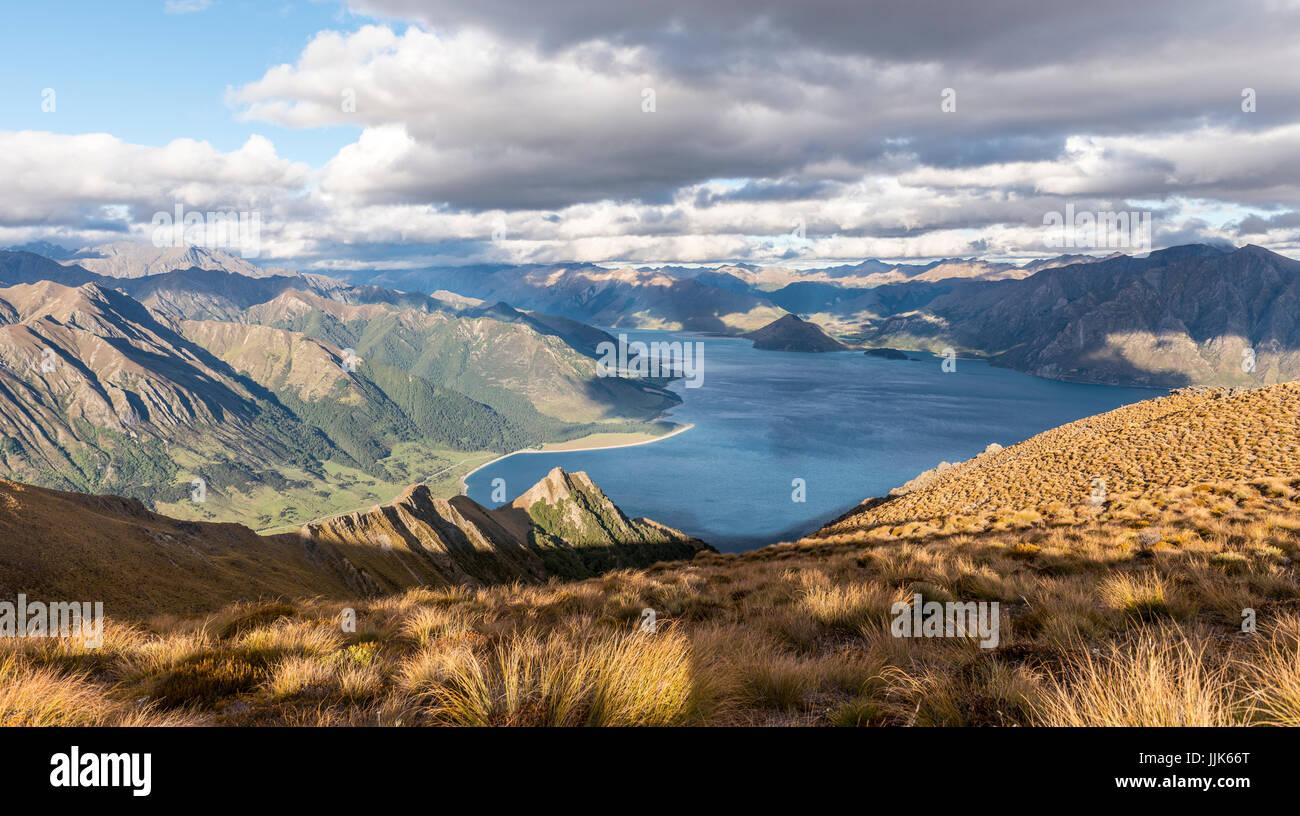 Alpine landscape, Lake Hawea and mountain panorama, Isthmus Peak Track, Otago, South Island, New Zealand, Oceania - Stock Image