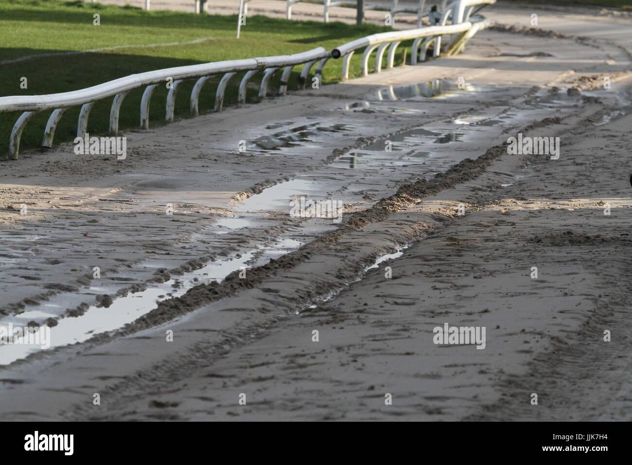 Waterlogged greyhound track requiring work after heavy rain. Stock Photo