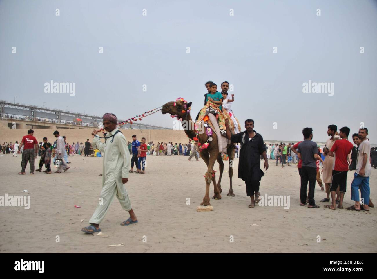 Jamshoro, Pakistan  19th July, 2017  peoples are enjoying the camel