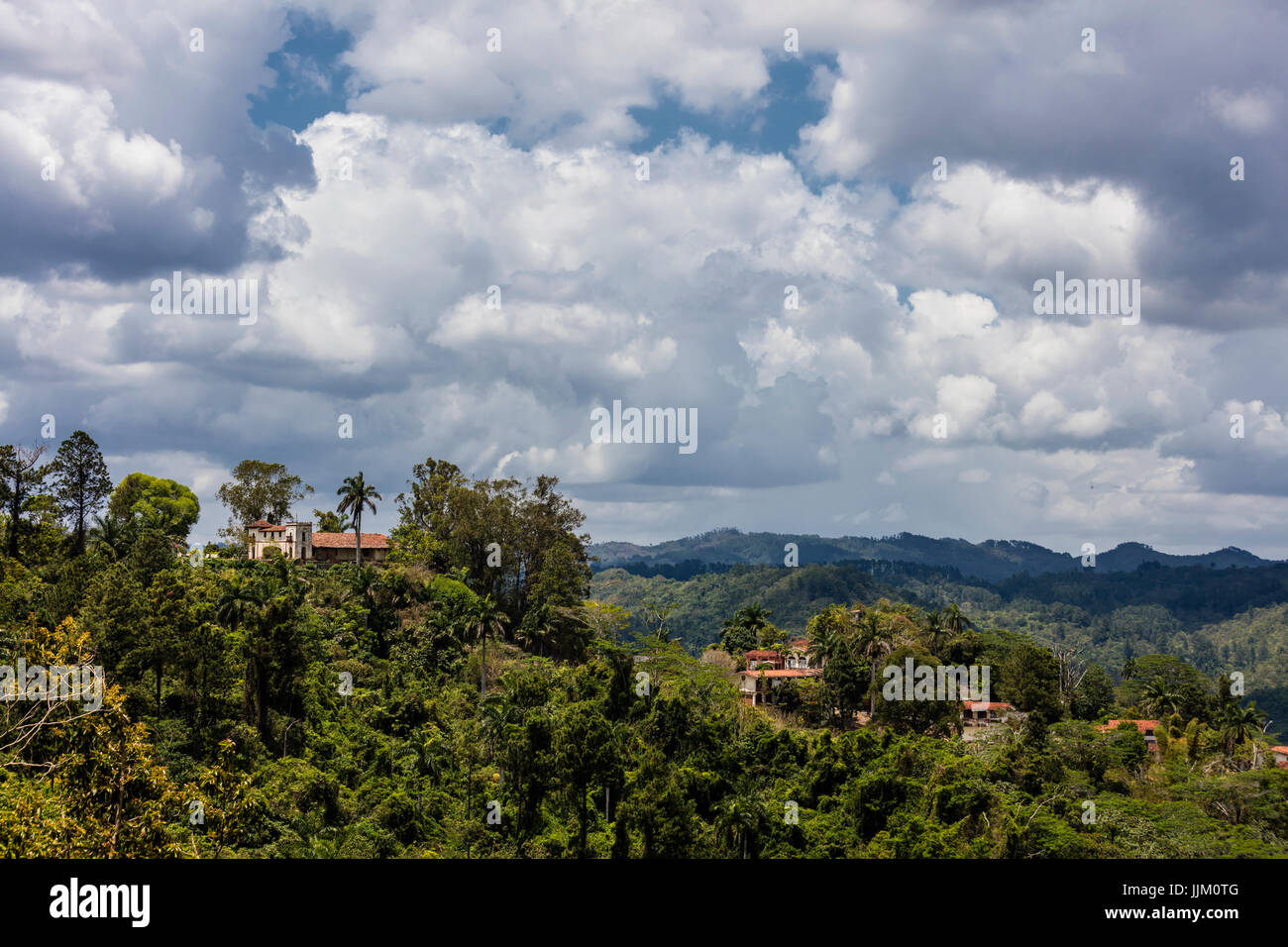 SPANISH MANSION above SALTO DE CABURNI located at TOPES DE COLLANTES in the mountains of SIERRA DEL ESCAMBRAY - - Stock Image
