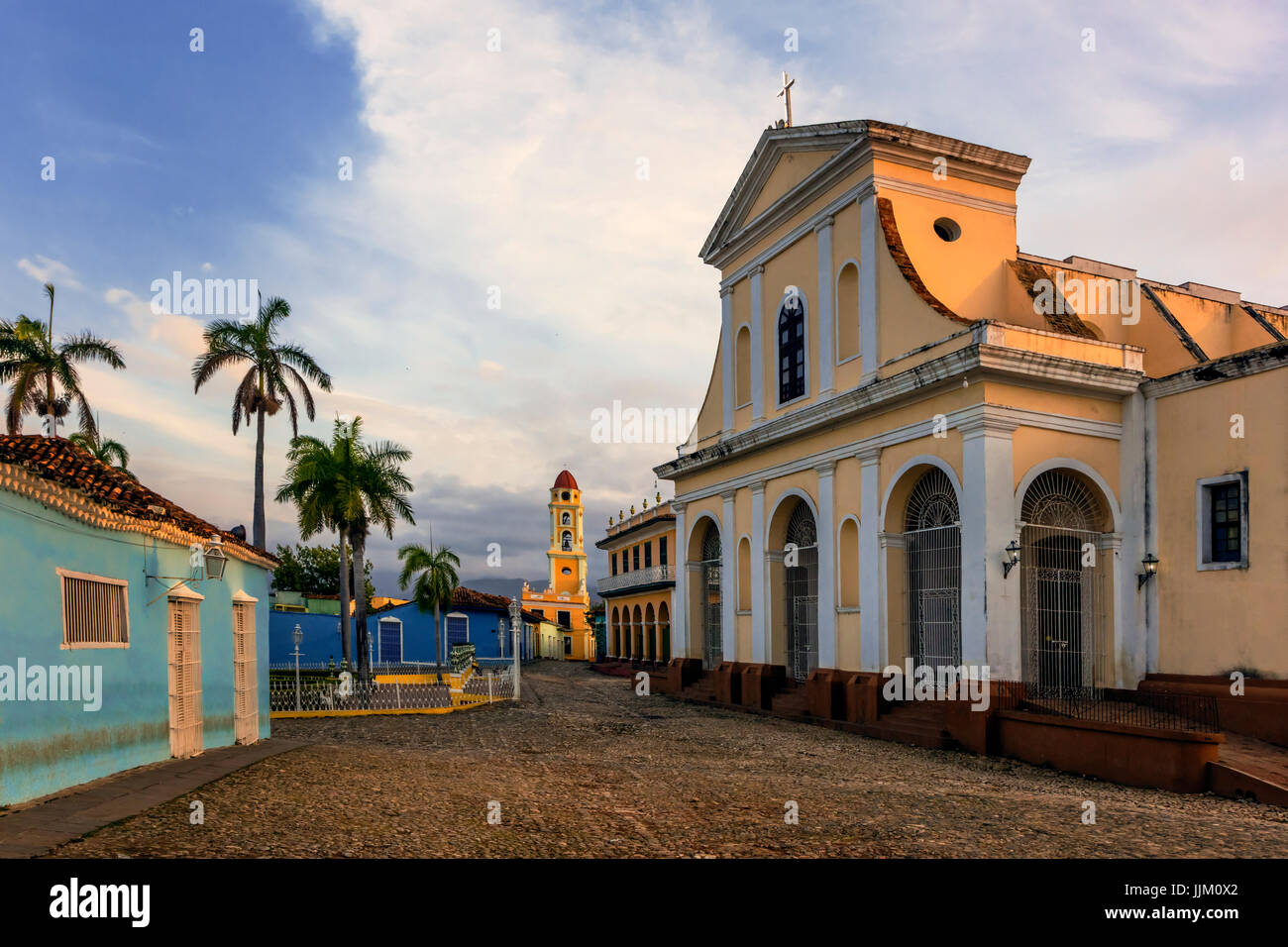 The IGLESIA PARROQUIAL DE LA SANTISIMA TRINIDAD is located on PLAZA MAYOR - TRINIDAD, CUBA Stock Photo