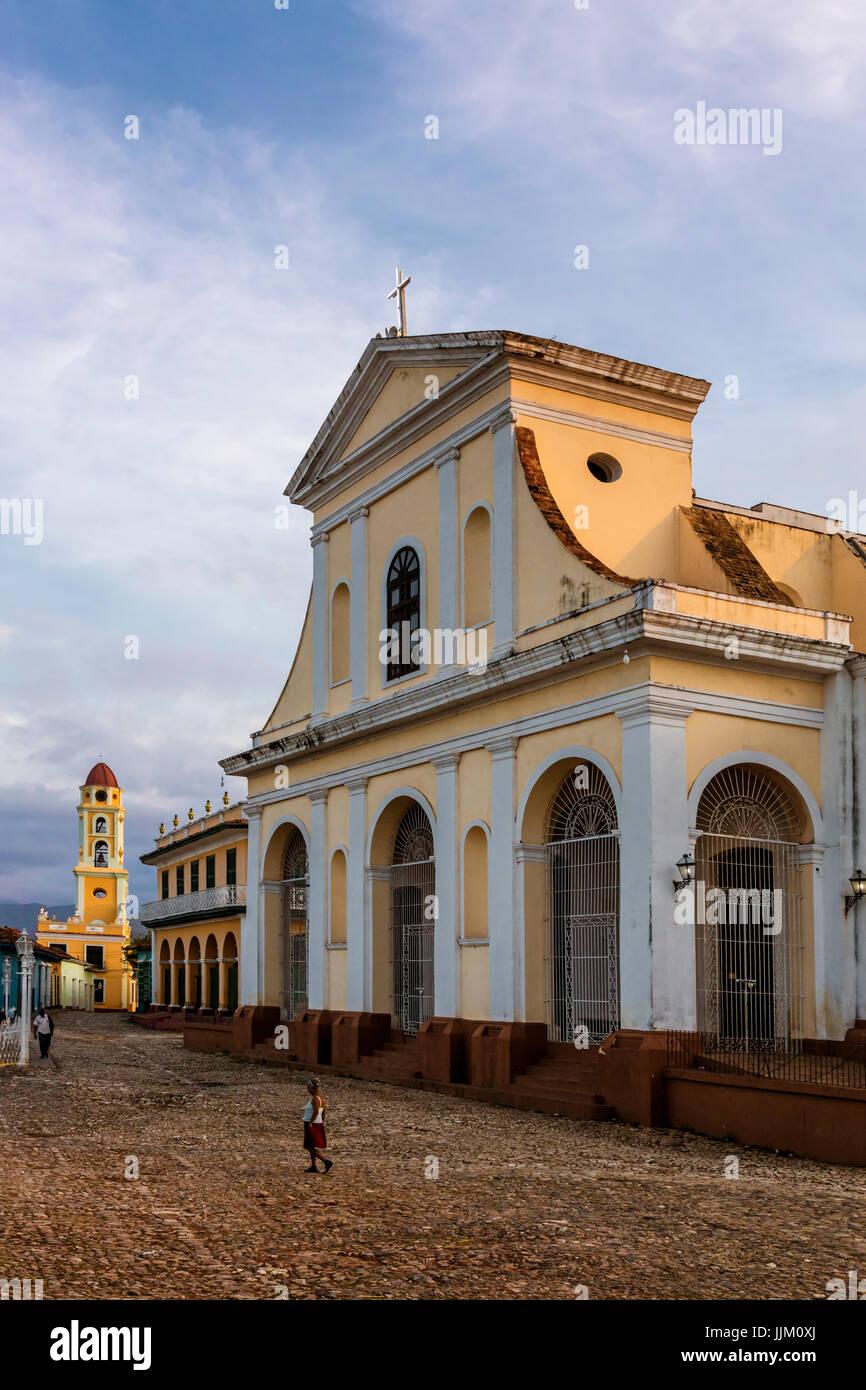 The IGLESIA PARROQUIAL DE LA SANTISIMA TRINIDAD is located on PLAZA MAYOR - TRINIDAD, CUBA - Stock Image