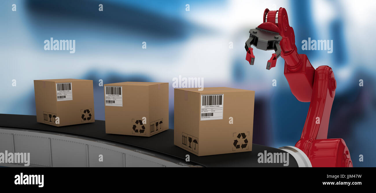 Composite image of brown cardboard boxes on 3d production line - Stock Image