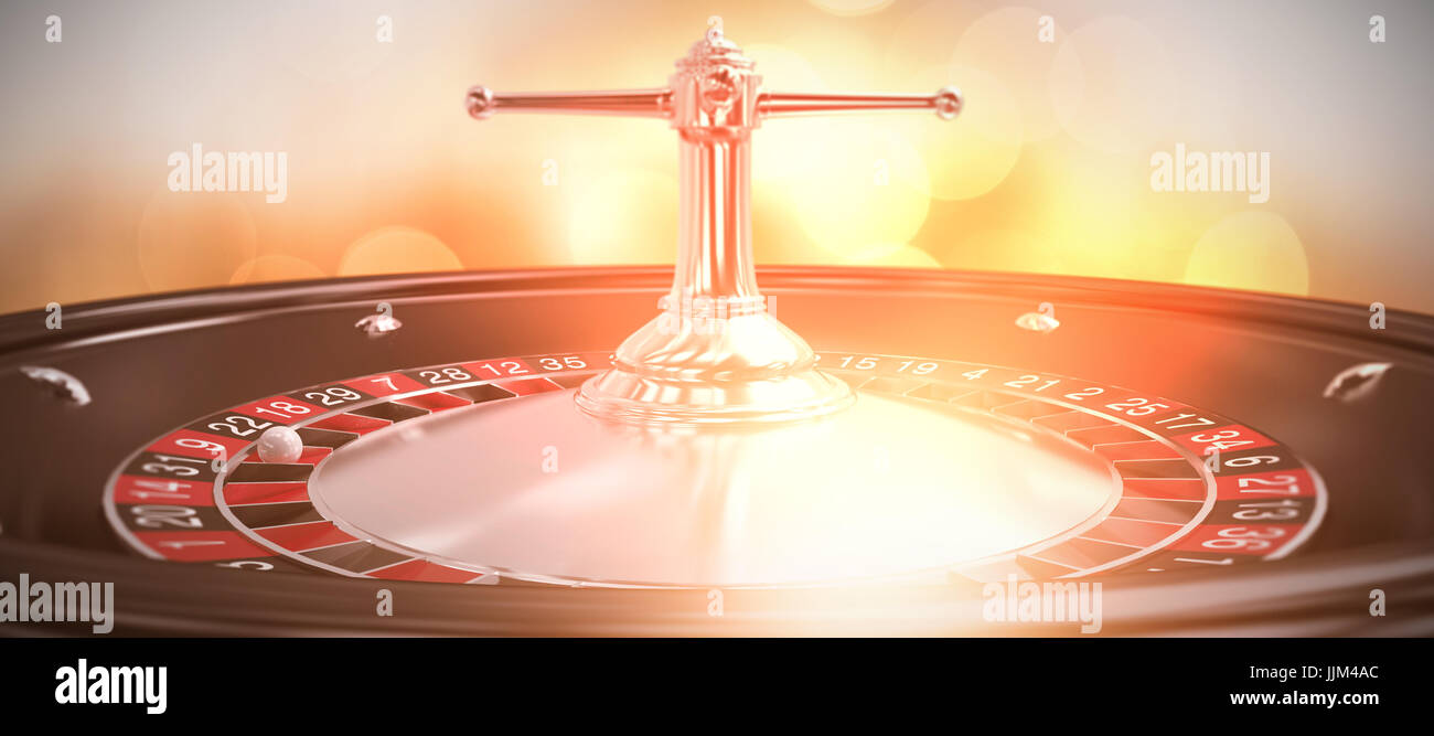 Composite image of close up image of 3d roulette wheel - Stock Image