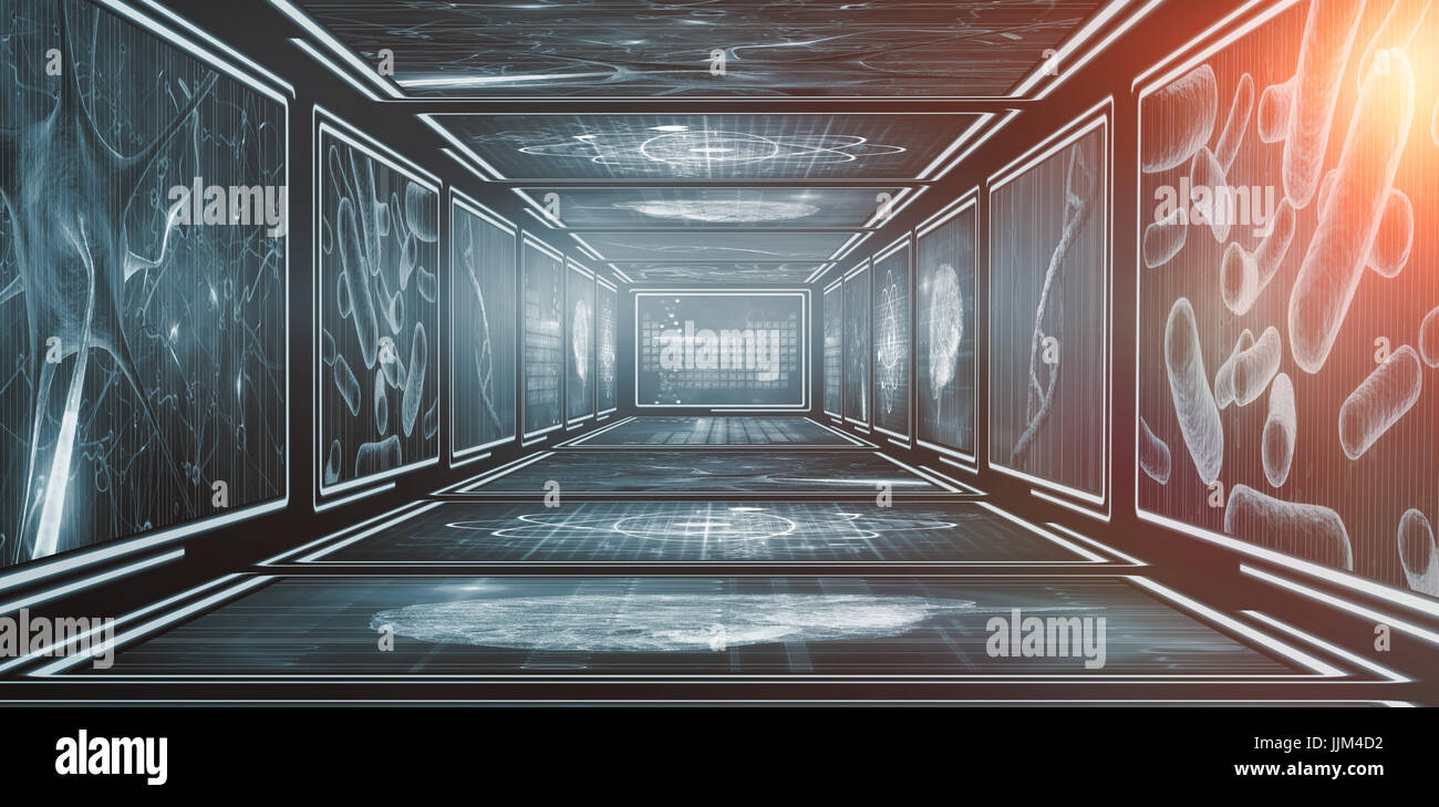 3d screens with blue interface - Stock Image