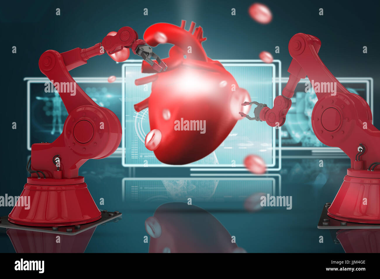 Composite 3d image of red robot arm with claw - Stock Image