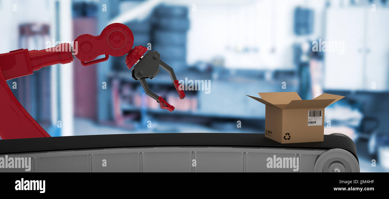 Composite image of 3d image of production line with open cardboard box - Stock Image