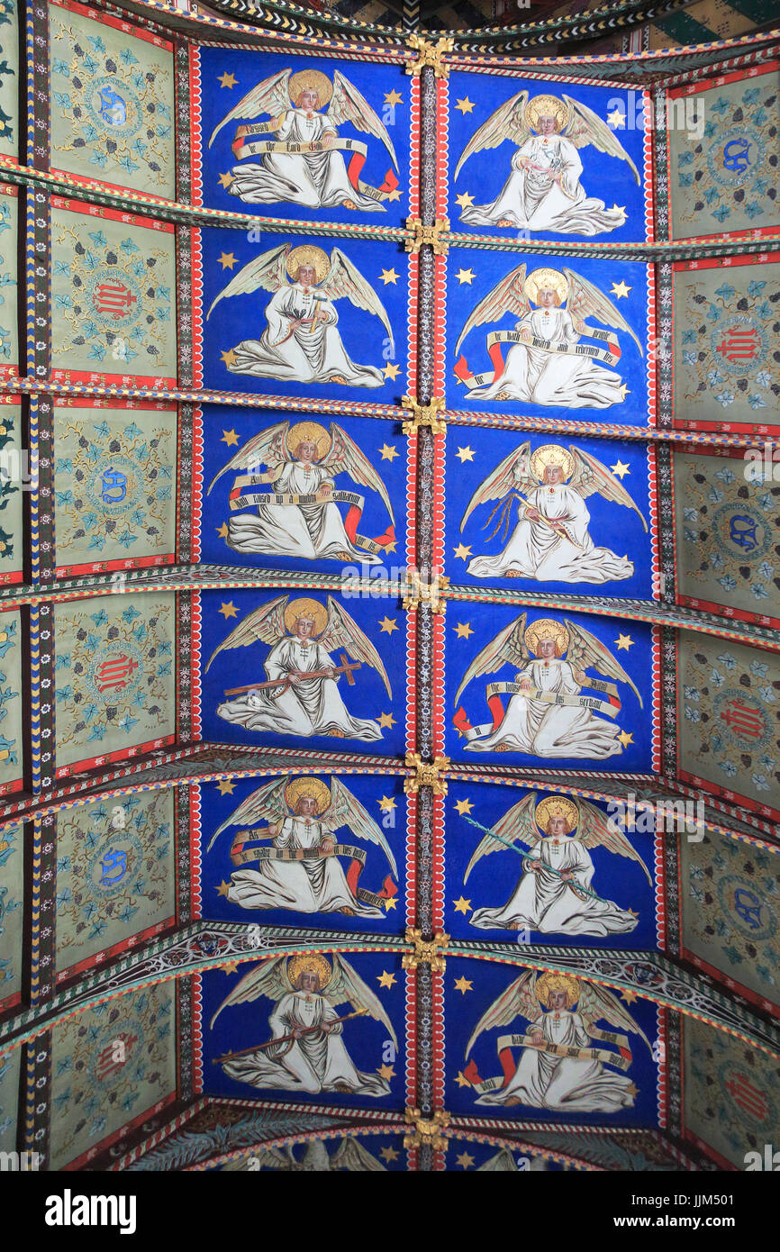 Painted ceiling by Mildred Holland 1863-66, Huntingfield church, Suffolk, England, UK - Stock Image