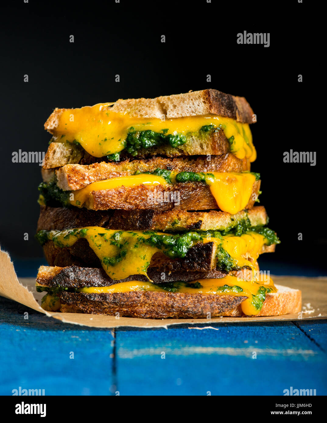 Sandwich with cheese and leek - Stock Image