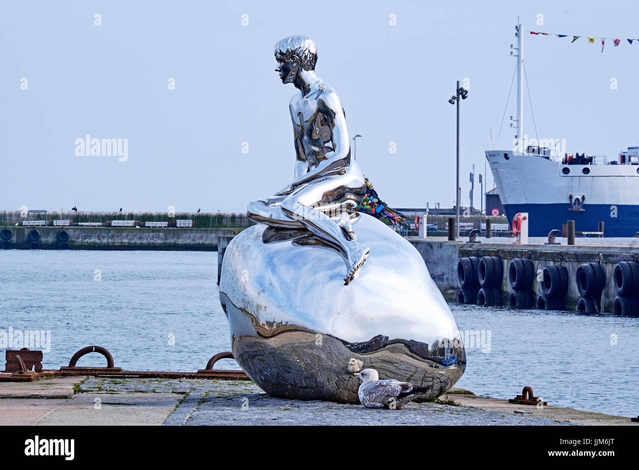 ELSINORE, DENMARK - APRIL 30, 2016: The sculpture Han, meaning He, by danish artists  Elmgreen and Dragset, made - Stock Image