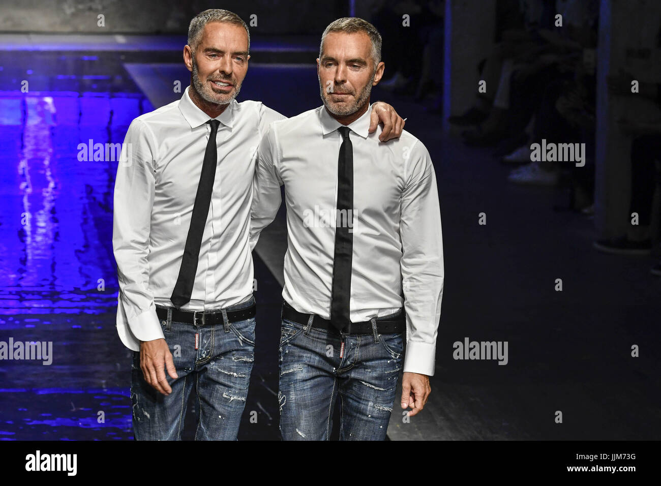 designers dean and dan caten on the catwalk at the. Black Bedroom Furniture Sets. Home Design Ideas