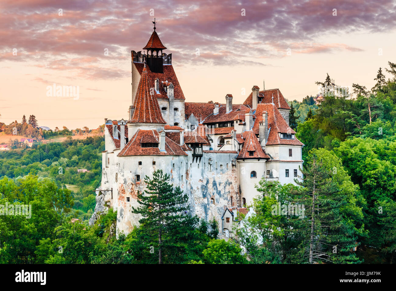 Brasov, Transylvania. Romania. The medieval Castle of Bran, known for the myth of Dracula. - Stock Image