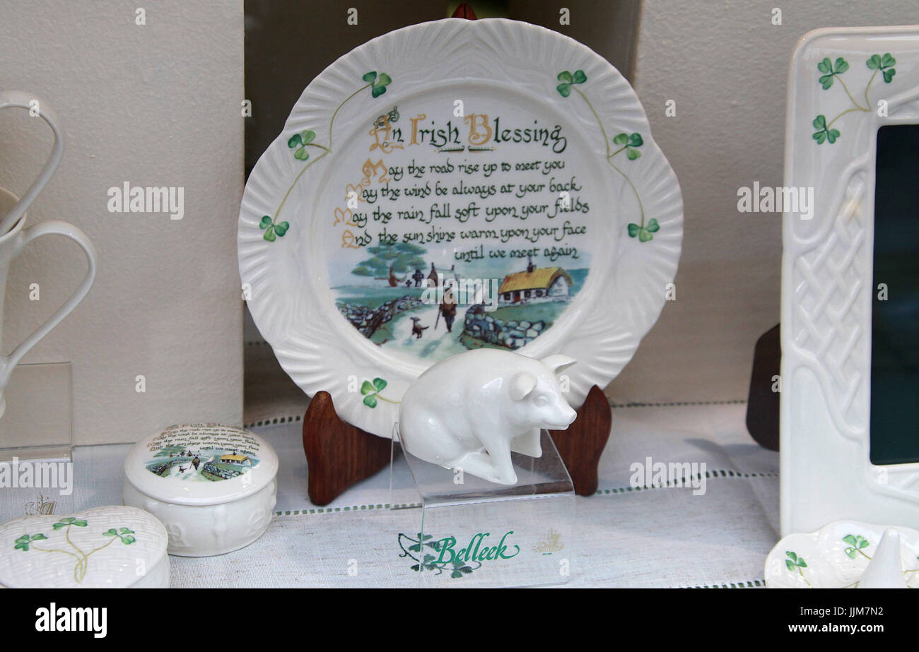 Belleek China In An Irish Gift Shop Window Stock Photo Alamy