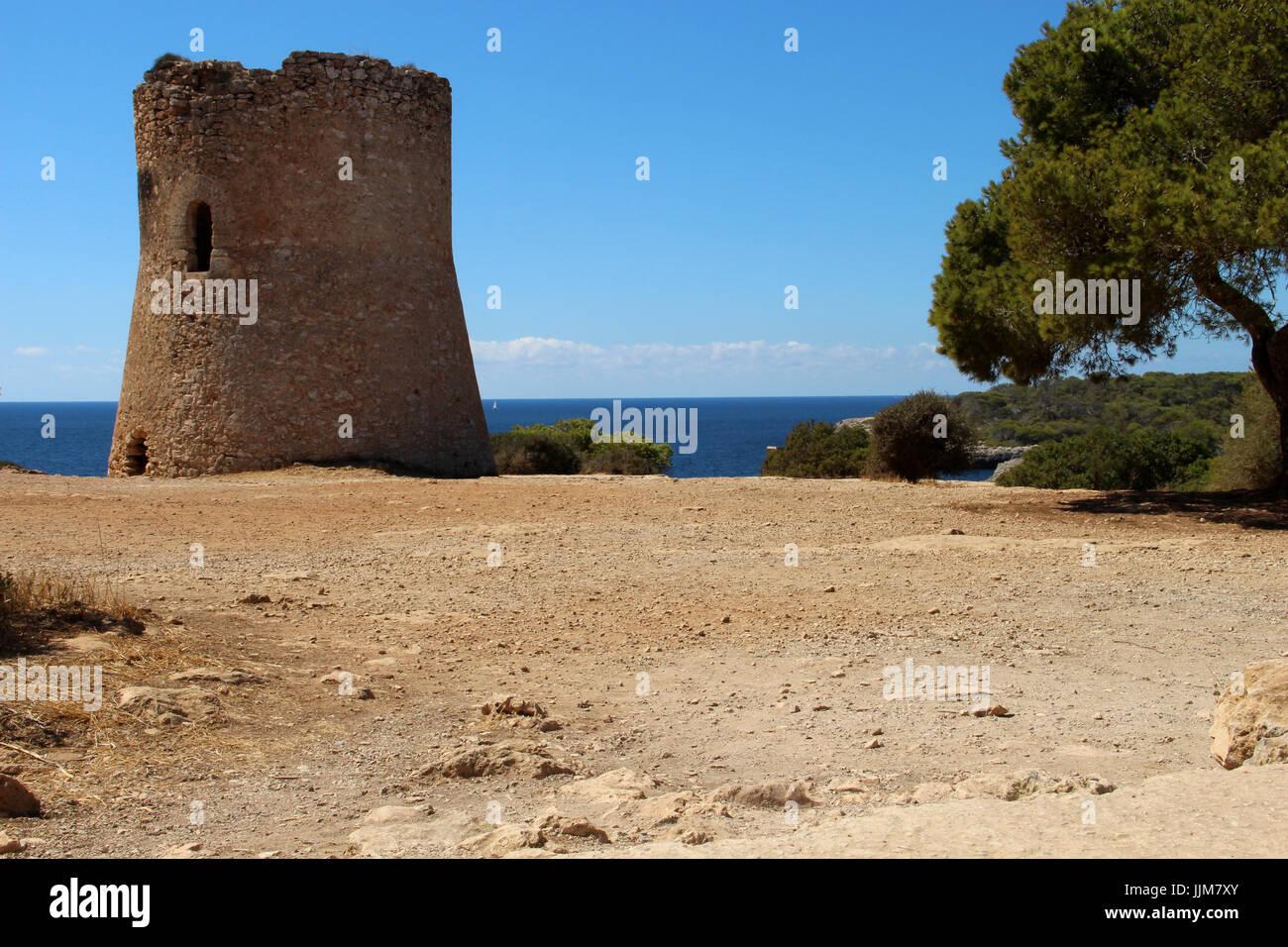 Two small sailing boots, Mediterranian Sea - Stock Image