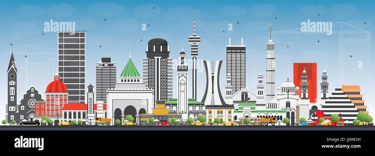 Famous Landmarks in Africa. Vector Illustration. Business Travel and Tourism Concept. Image for Presentation, Banner, - Stock Vector
