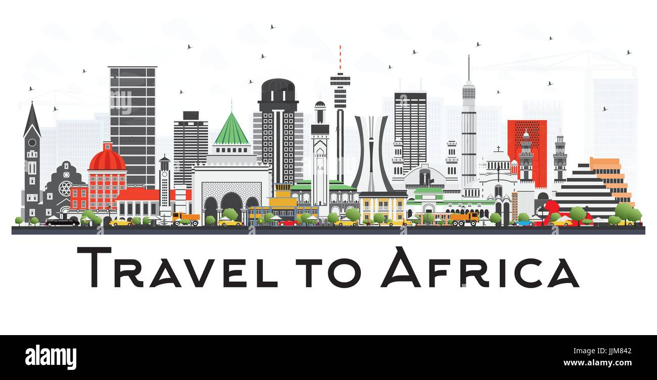 Africa Skyline with Famous Landmarks. Vector Illustration. Business Travel and Tourism Concept. Image for Presentation, - Stock Image
