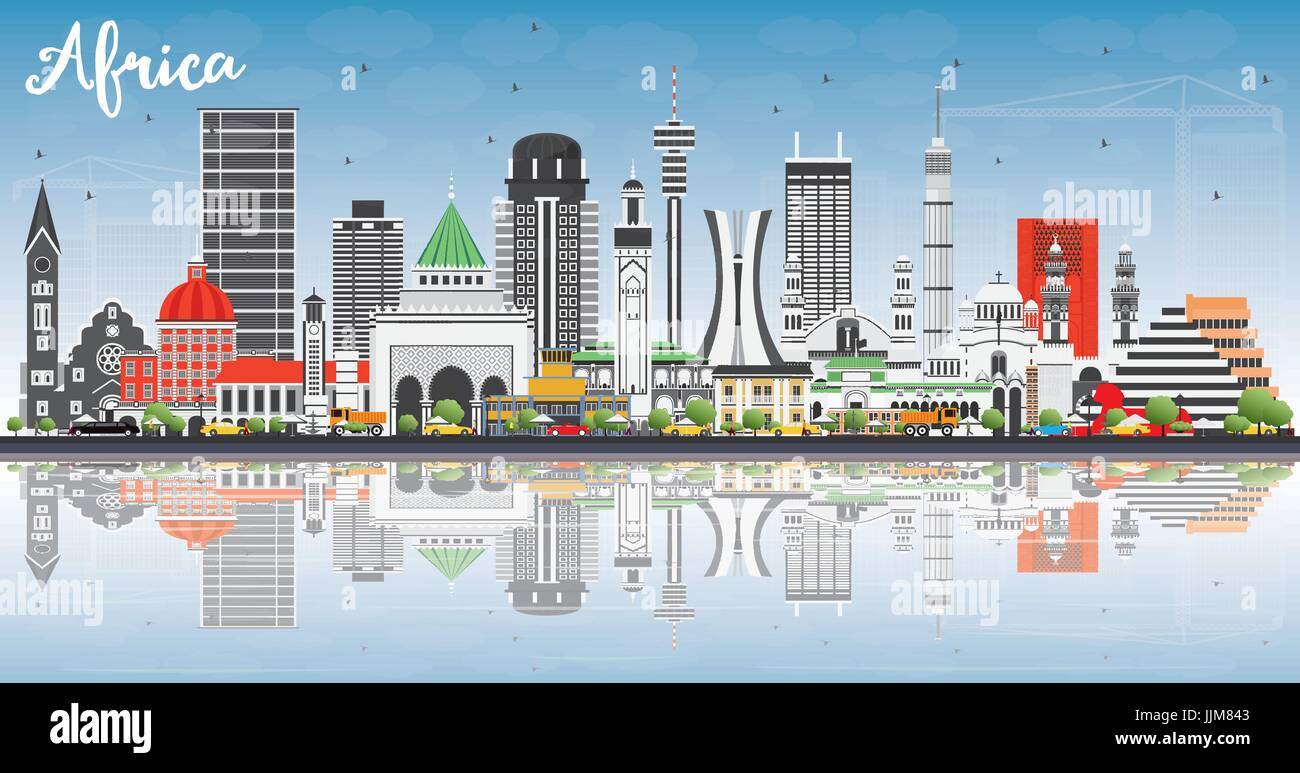 Africa Skyline with Famous Landmarks and Reflections. Vector Illustration. Business Travel and Tourism Concept. - Stock Vector