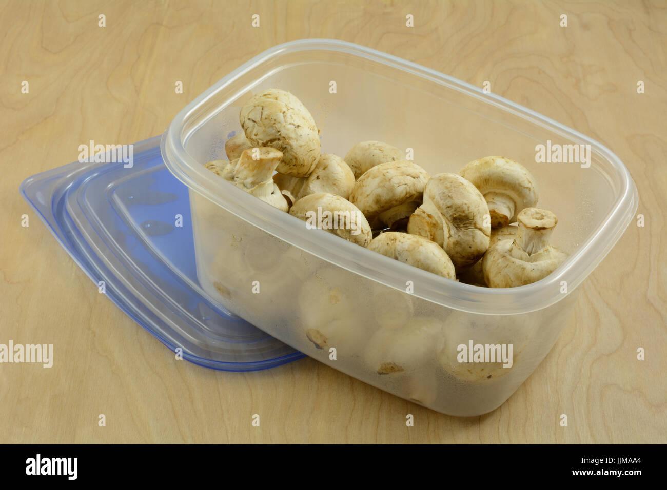 White button mushrooms in refrigerator plastic storage container