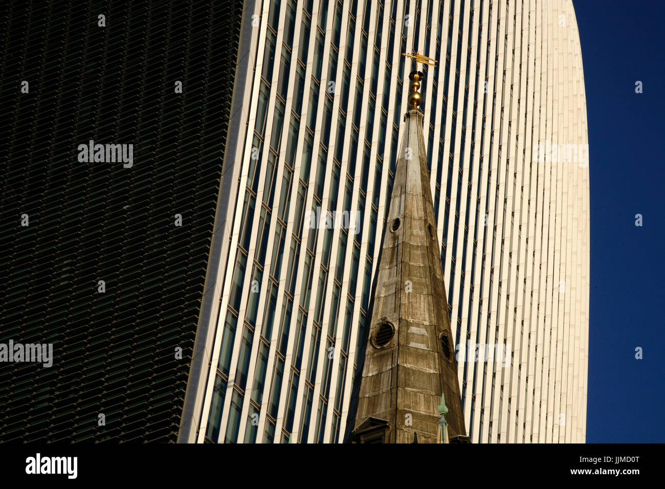 Spire of St Margaret Pattens church in front of 20 Fenchurch Street (Walkie Talkie), City of London, UK - Stock Image