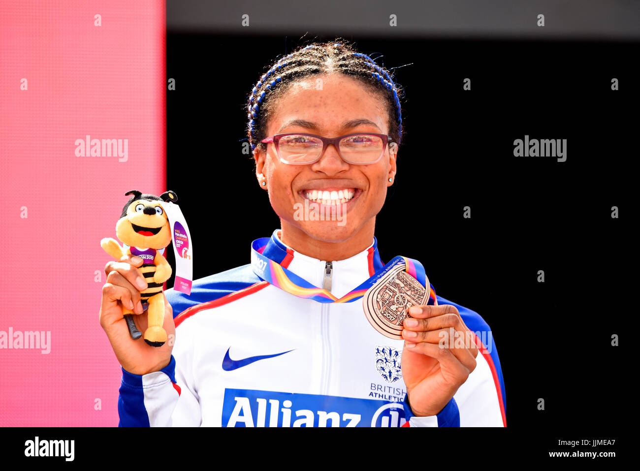 Kare Adenegan with bronze medal at the World Para Athletics Championships in the London Olympic Stadium, London, - Stock Image