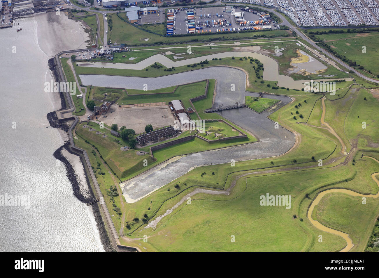 An aerial view of Tilbury Fort on the River Thames - Stock Image