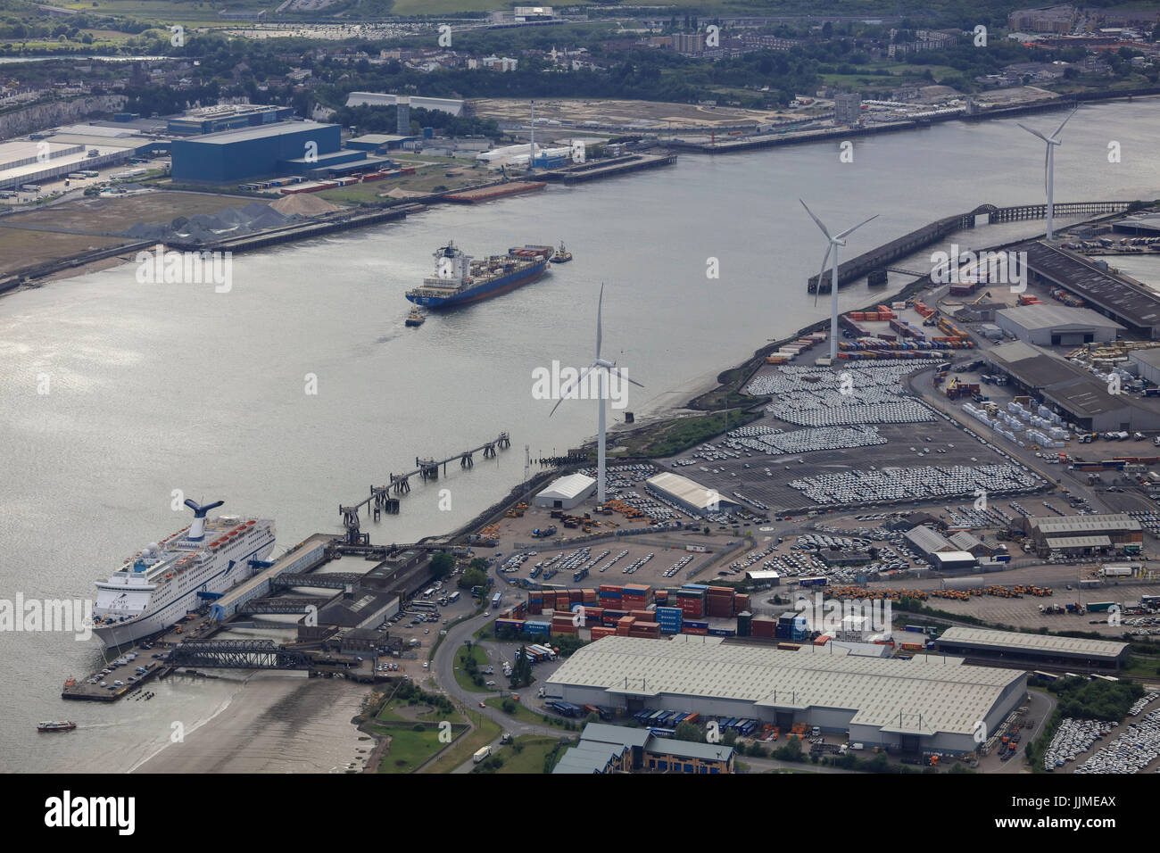 An aerial view of Purfleet Port on the River Thames in Essex - Stock Image