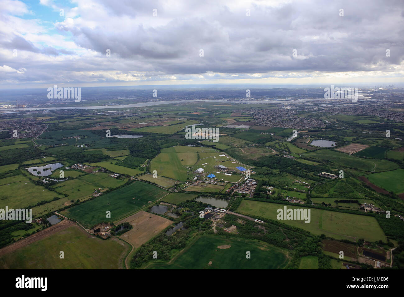 An aerial view of the Essex countryside south of Hornchurch - Stock Image