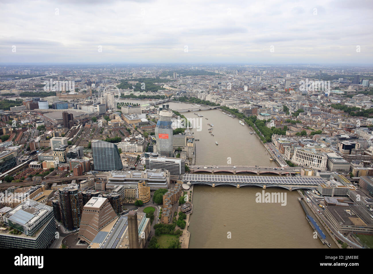 An aerial view facing West down the River Thames from Blackfriars Bridge - Stock Image