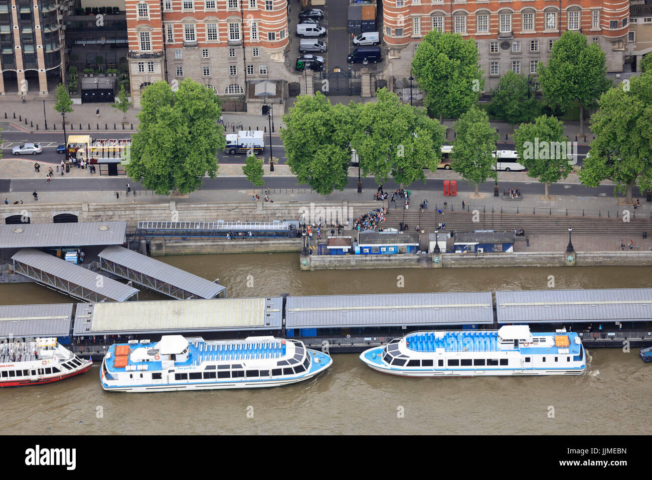 An area of Victoria Embankment and Westminster Pier close to Westminster Bridge - Stock Image