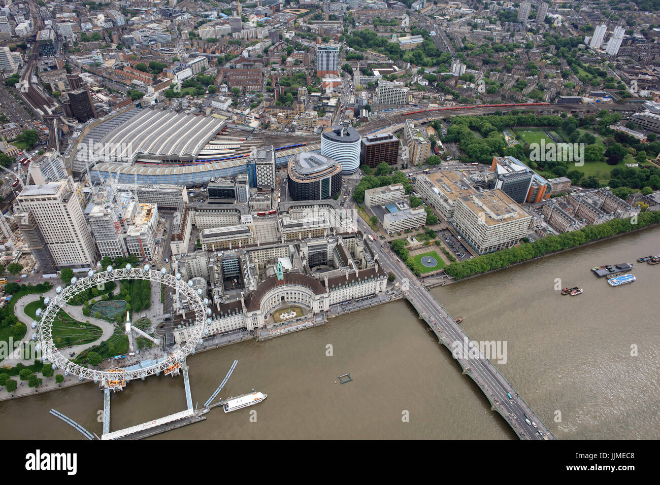 An aerial view of the South Bank in London including the London Eye and Waterloo Station - Stock Image