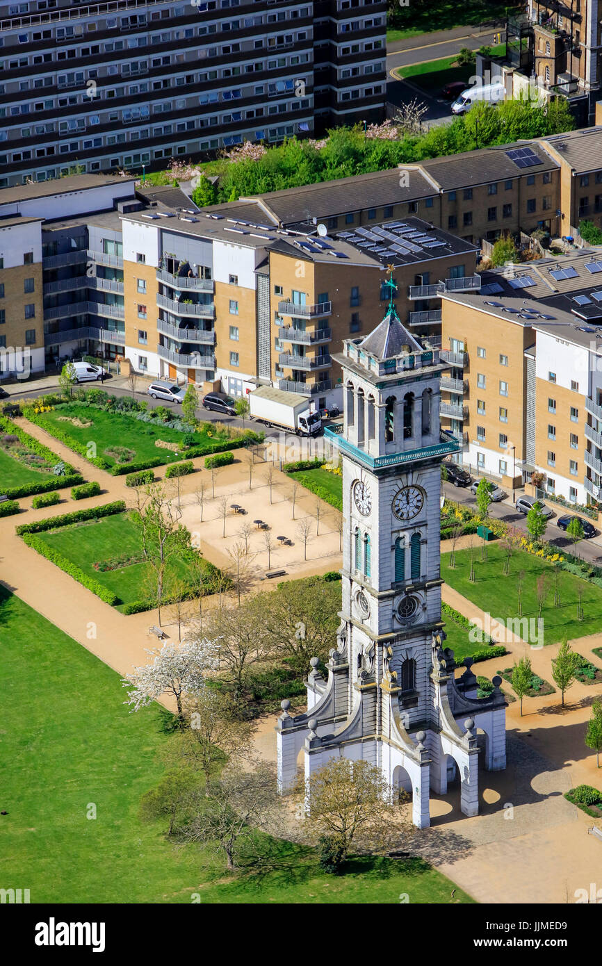 An aerial view of a housing development on the site of the former Metropolitan Cattle Market, North London - Stock Image