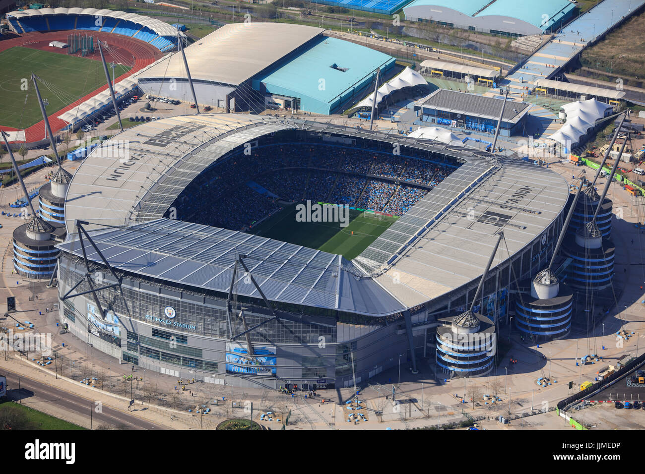 An aerial view of the City of Manchester Stadium, home of Manchester City FC - Stock Image