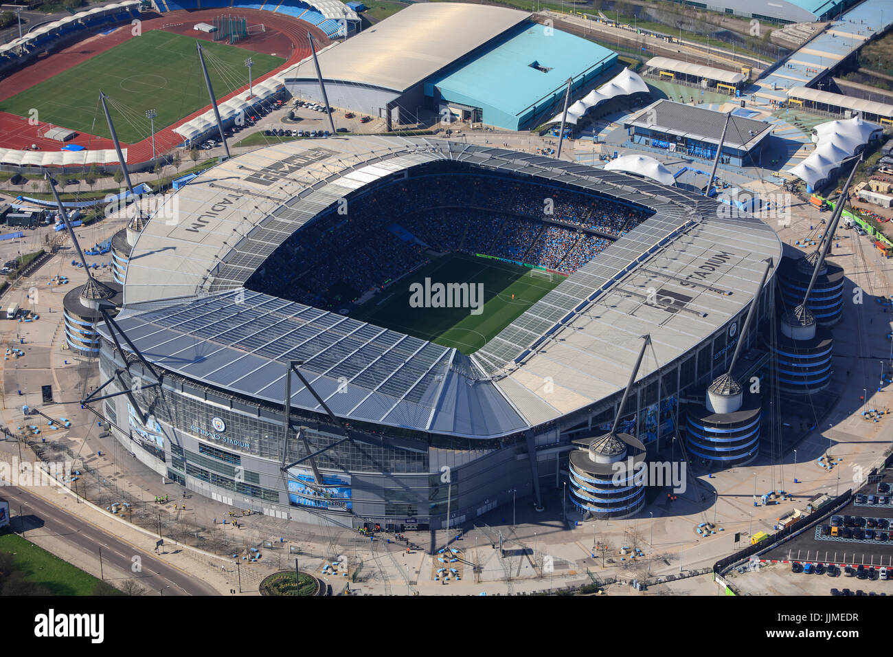 An aerial view of the City of Manchester Stadium, home of Manchester City FC Stock Photo