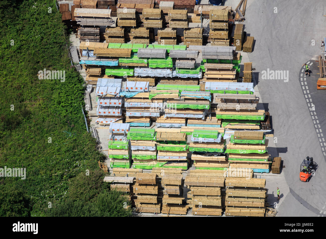 An aerial view of building materials being stored outside at a Builders Merchants - Stock Image