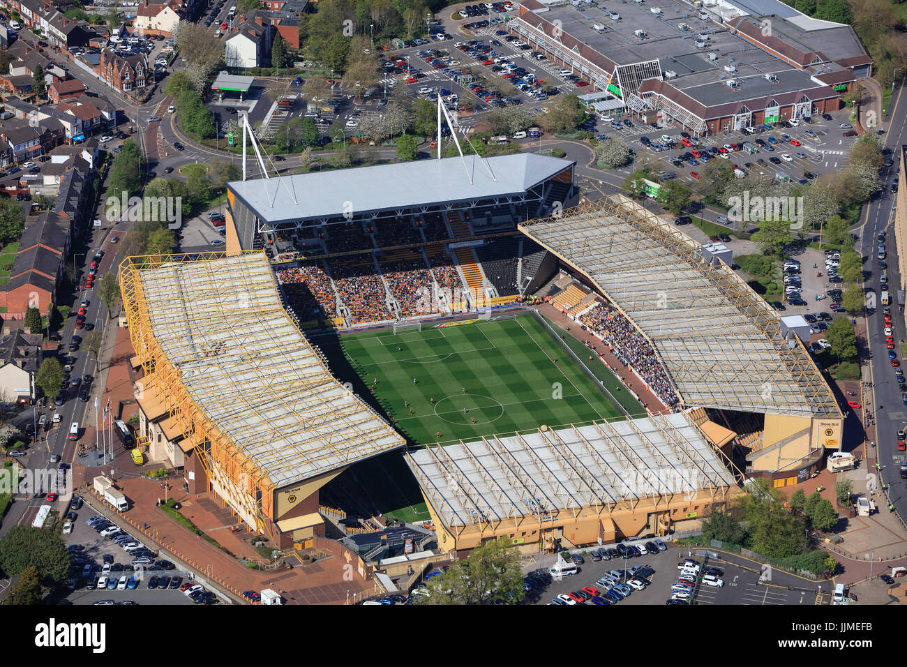 An aerial view of Molineux Stadium, home of Wolverhampton Wanderers FC Stock Photo