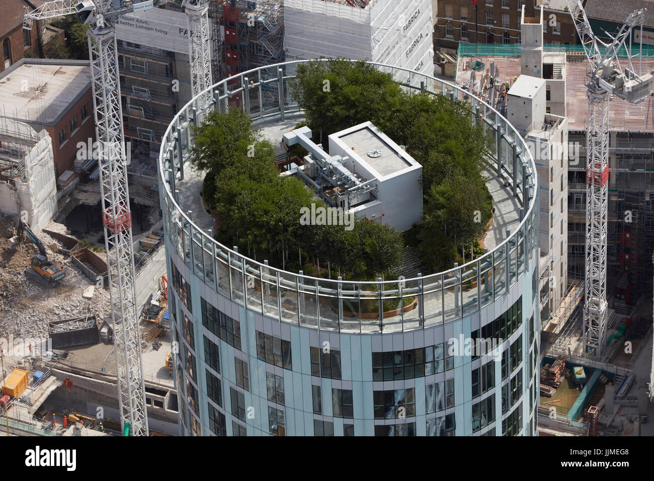 A close-up aerial view of the roof of Vauxhall Sky Gardens, a residential development in Nine Elms, Battersea. - Stock Image