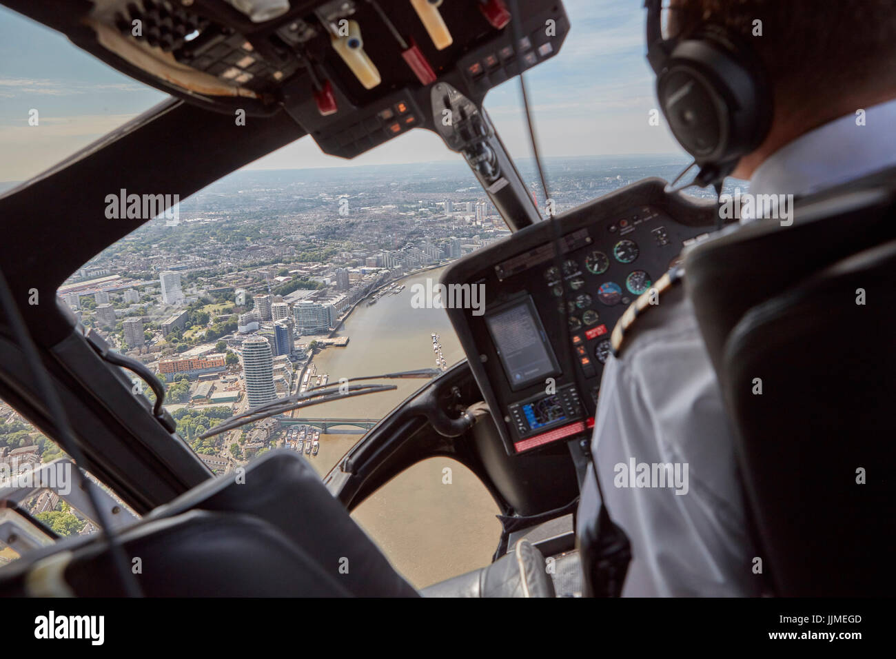 A photographer's eye view of an aerial photography flight over London Stock Photo