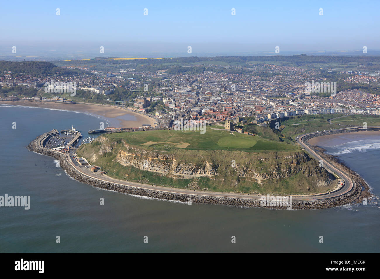 An aerial view of Scarborough Castle Cliff, North Yorkshire coast - Stock Image