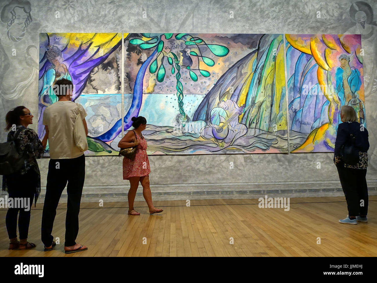 Tapestry 'The Caged Bird's Song' by Chris Ofili on show at the National Gallery, London - Stock Image